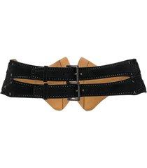 alaïa pre-owned 1990s double buckled belt - black