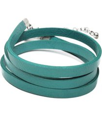 pulsera de mujer  verde  stringa 4 giri moneta  leather collection vestopazzo