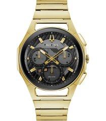 bulova men's chronograph curv progressive sport gold-tone stainless steel bracelet watch 44mm