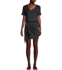 lea & viola women's draped blouson dress - navy - size xs