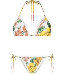 zimmermann poppy crochet edge bikini - white