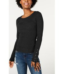 hooked up by iot juniors' lace-up rib-knit sweater