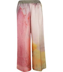 f cashmere printed flared trousers