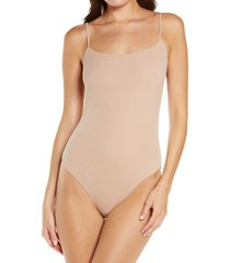 calvin klein pure rib bodysuit, size x-large in honey almond at nordstrom