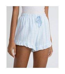short de pijama em flanela estampa listras com babadinhos | lov | azul | m