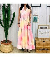 zanzea de las mujeres sin mangas del hombro larga camisa de vestir de verano del vestido del tanque del tamaño extra grande -rosado