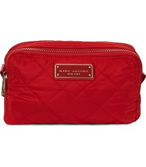 marc jacobs women's double-zip cosmetic pouch - cherry red