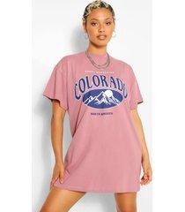 colorado slogan t-shirt dress, mauve