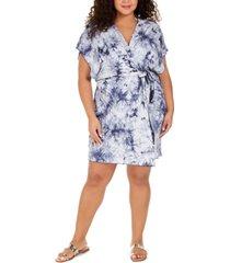 becca etc plus size tide pool printed cover-up kimono women's swimsuit