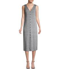 button front linen blend knit dress