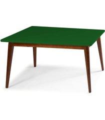mesa de madeira retangular 160x90 cm novita 609-2 cacau/verde musgo - maxima