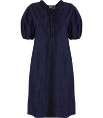 max mara midnight blue cotton denim palazzo trousers