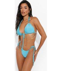 tanga bikini broekje met zijstrikjes, turquoise