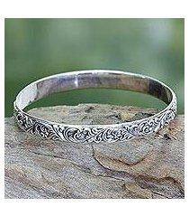 sterling silver bangle bracelet, 'timeless bali' (indonesia)