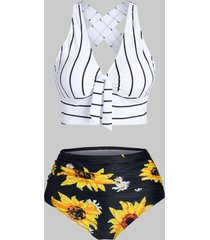 sunflower striped criss cross tummy control bikini swimwear