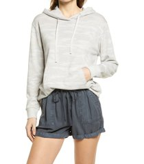 women's caslon french terry pullover hoodie, size large - grey
