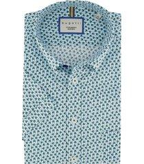 korte mouwen overhemd bugatti blauwe print