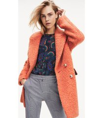 tommy hilfiger women's boucle car coat red clay - 4