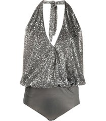 just cavalli halterneck embroidered bodysuit - silver