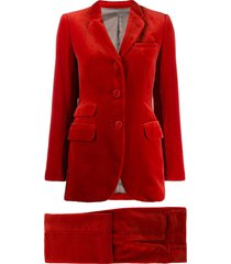 jean paul gaultier pre-owned single breasted velvet suit - red