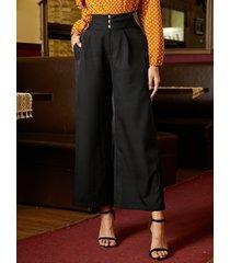 yoins black bolsillos laterales perneras anchas de cintura alta pantalones