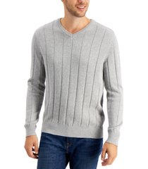 club room men's drop-needle v-neck cotton sweater, created for macy's