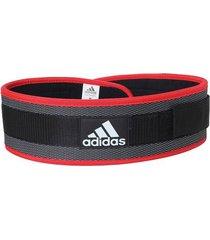 cinturón lumbar en nylon adidas - negro con rojo