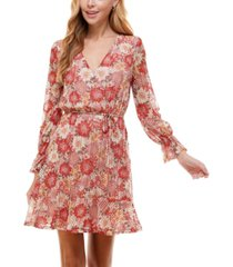 city studios juniors' surplice tie-waist dress