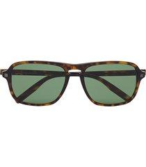 ermenegildo zegna tortoiseshell rectangular-frame sunglasses - brown