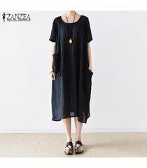 s-5xl zanzea para mujer con cuello redondo de manga corta de verano largo flojo de la camisa de vestido de midi -azul