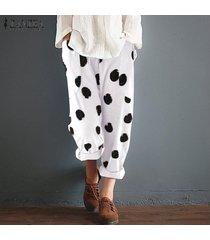 zanzea mujeres encuadre de cuerpo entero de lunares pantalones oficina de trabajo de mujeres de talla pantalones -blanco