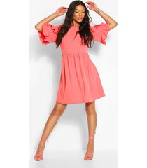 extreme ruffle sleeve smock dress, coral