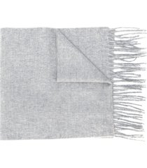 filippa k fringe knit scarf - 1451 light grey melange