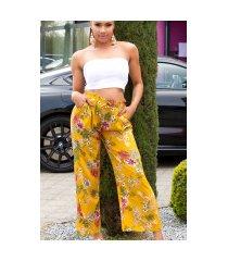 trendy casual zomer broek met bloemen-print mosterdgeel