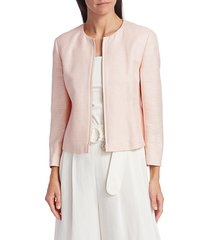 akris punto women's back peplum silk jacket - aurora - size 12