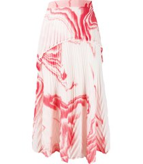 th zebra mud chiffon pleated skirt - white