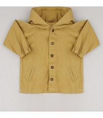 jaqueta de sarja infantil com capuz e bolsos mostarda