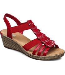 62436-14 sandalette med klack espadrilles röd rieker