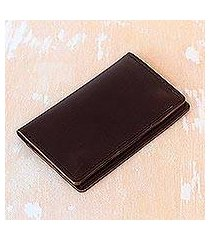 leather passport wallet, 'journey mate in dark brown' (indonesia)