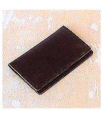 leather passport wallet, 'journey mate in dark brown' (indonesia)