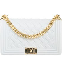 marc ellis flat braid m shoulder bag in white pvc