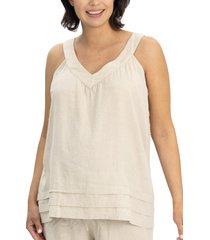 angel maternity sleeveless linen blend maternity/nursing top, size large in beige at nordstrom