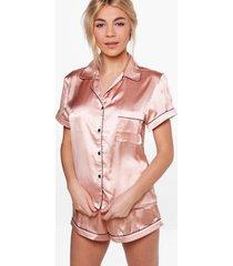 korte satijnen pyjama set met contrasterende biezen, roségoud