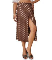 women's reformation betty print wrap skirt, size 6 - brown