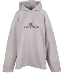 balenciaga unisex wide line grey distressed bb pixel hoodie