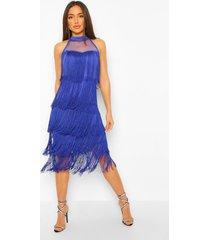 midi jurk met rafels, blue