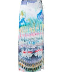 amiri tie-dye wrap skirt - blue