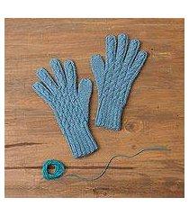 100% alpaca gloves, 'winter delight in light azure' (peru)