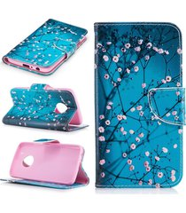 moto g5 plus case,xyx [plum blossom][double sided design] pu leather wallet case