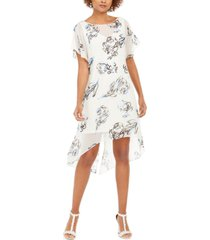 adrianna papell chiffon-overlay dress